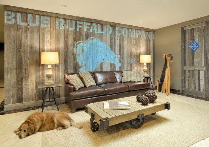 Barn-inspired room with a pet lying on the floor - How the Dogs fit in our Home Interior Design