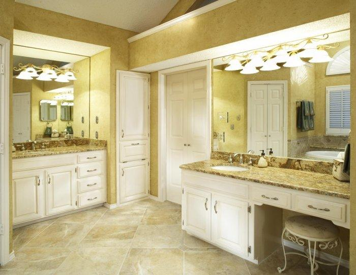 Bathroom interior design in golden colors and big tiles - Bathroom Remodeling Ideas