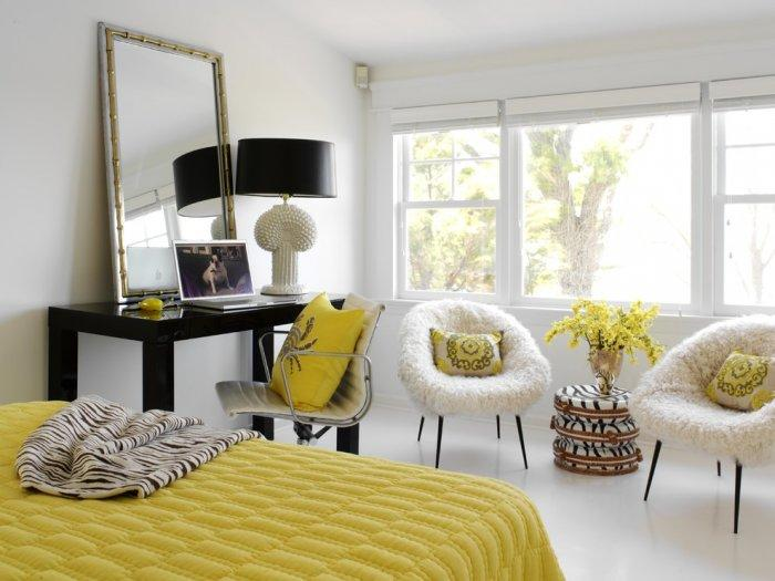 Bedroom interior design in black and yellow colors - 8 Residential Interior Design Inspiring Examples