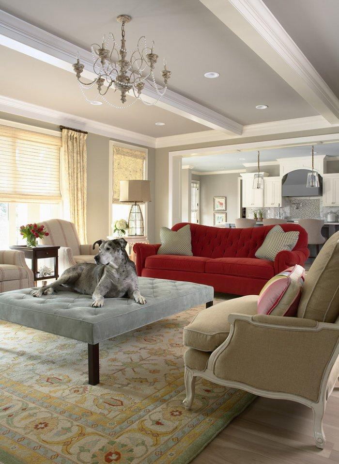 Contemporary home interior design with oversized ottoman - How the Dogs fit in our Home
