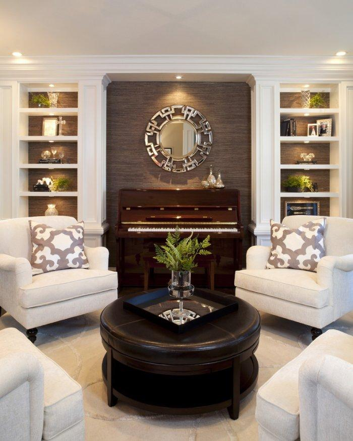 Conversation room with white club chairs and a brown piano - Classic Living Room Furniture Tips and Ideas