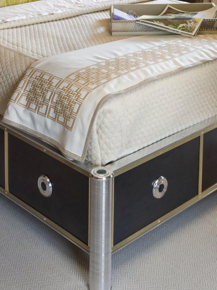Creative modern bed and the detailed look of one of its legs - The bedroom furniture of you dreams