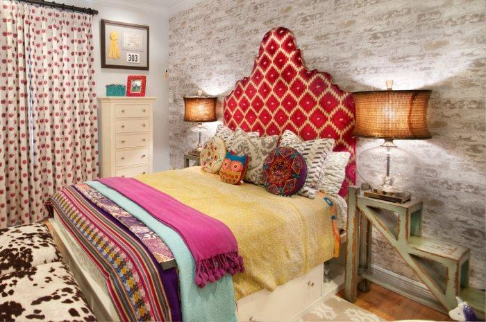 Eclectic colorful teen bed with extended headboard - The bedroom furniture of you dreams