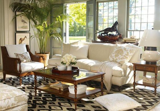 Exotic British Colonial Interior Design Style With Antique Tables