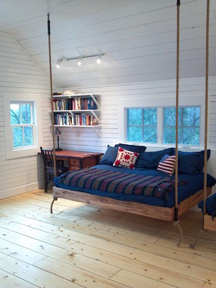 Hammock like bed elevated from the floor - The bedroom furniture of you dreams