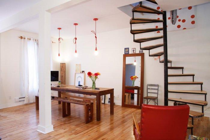 Living room in eclectic design with spiral staircase - Living in a Romantic Apartment in Montreal