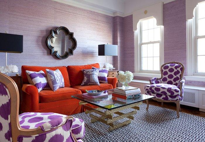 Living room interior design with red and purple colors - Latest Autumn/Winter 2013 Trends