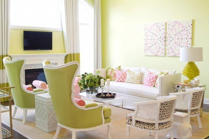 Living room interior in pale green nuances - The Best Homes for 2013