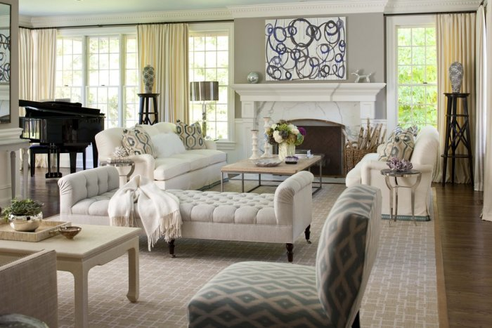 Luxury living room with a black grand and a white fireplace - Classic Living Room Furniture Tips and Ideas
