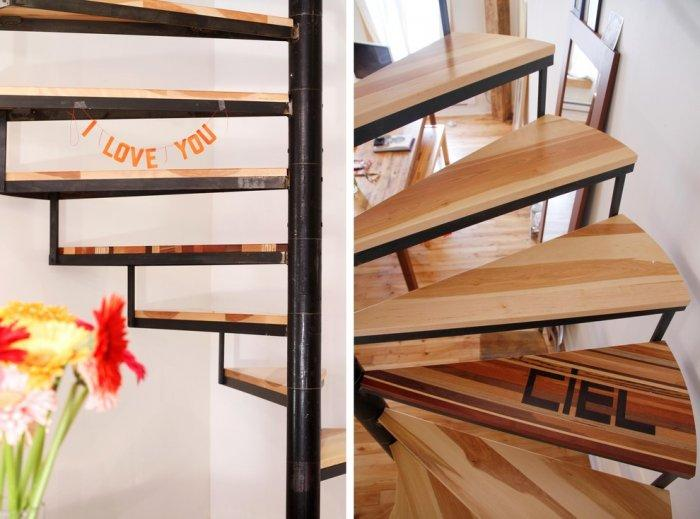 Spiral staircase with metal foundation and wooden steps - Living in a Romantic Apartment in Montreal
