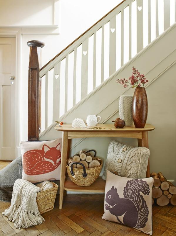 Sweet and cozy home accessories next to a staircase - Trends in Colors for Autumn/Winter 2013