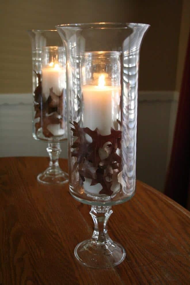 Sweet decorative jar full of autumn leaves - 9 Easy DIY Decorating Ideas