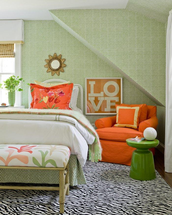 Orange and Green Bedroom Ideas