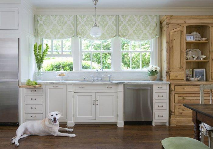 White Labrador in a Rustic kitchen - How the Dogs fit in our Home Interior Design