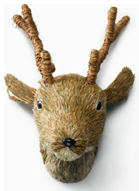 Brown Sisal Deer Head - Christmas tree decorating ideas