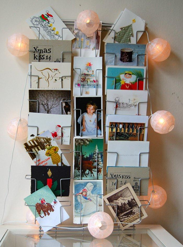 Christmas cards displayed on a steel stand - 17 Scandinavian Examples of Home Decorations