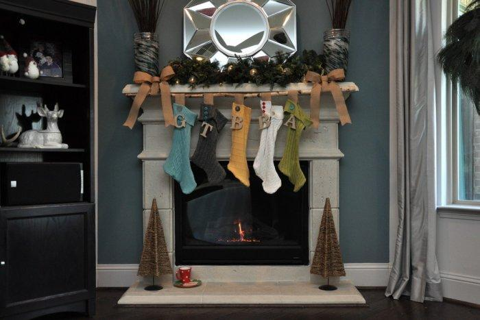 Christmas plain stockings placed upon a fireplace - Simple and Elegant Budget Decorating Ideas