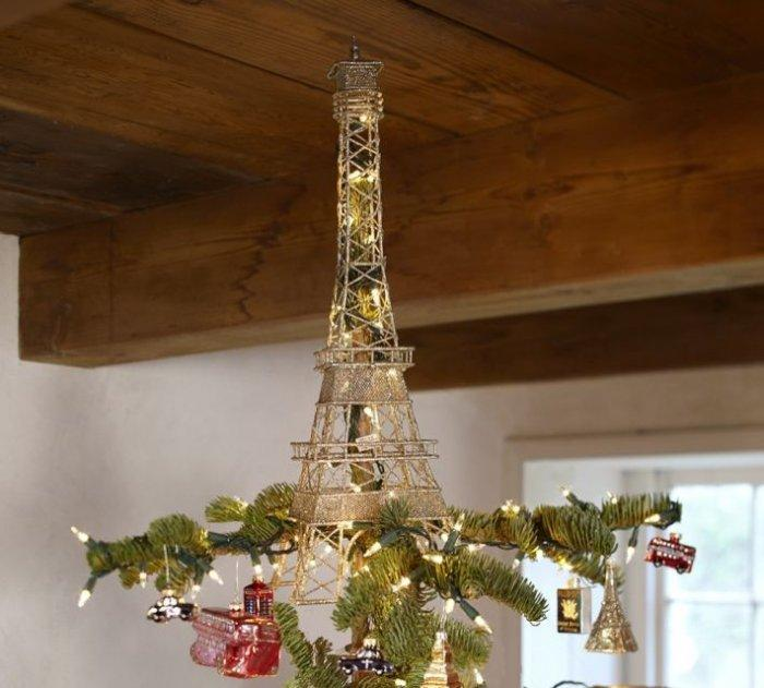 How to decorate a christmas tree with a topper ideas for Eiffel tower decorations for the home