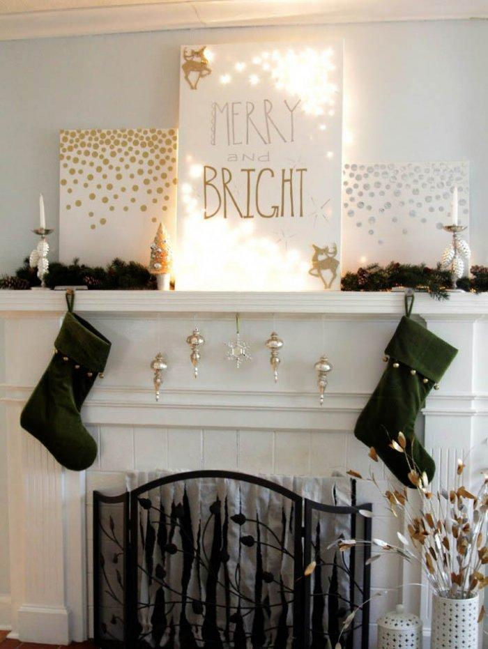 Merry and bright Christmas mantle-30 Easy and Simple DIY Christmas Decoration Ideas