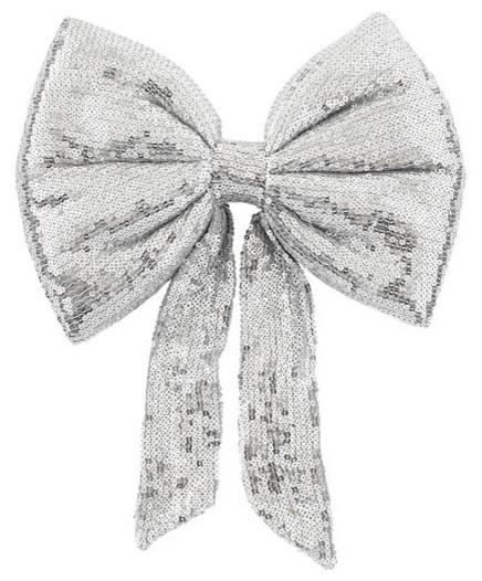 Silver Sequin Bow - Christmas tree decorating ideas