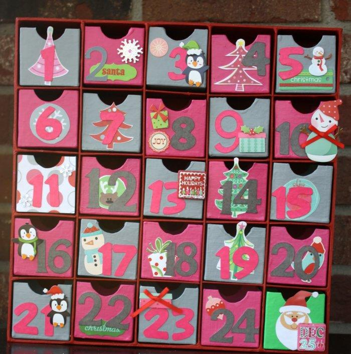 Simple advent calendar in a modern palette-30 Easy and Simple DIY Christmas Decoration Ideas