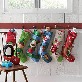 Appliquéd Holiday Stockings-20 Christmas Stockings Ideas that Cheer Up the Interior