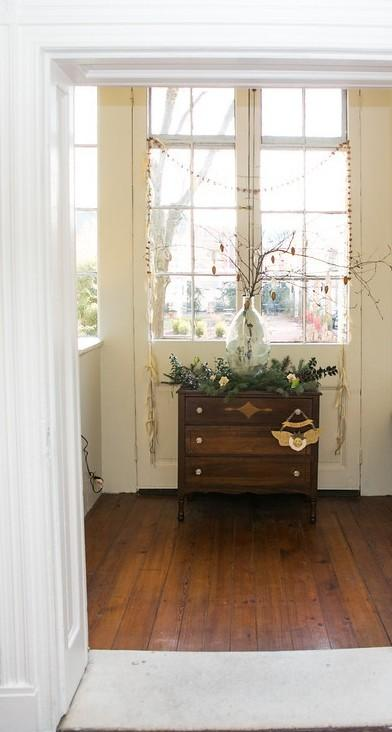 Bare branches with Christmas ornaments in a glass jar - Simple and Elegant Budget Decorating Ideas