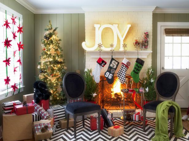 Beautiful and cozy Christmas interior design of an area in front the fireplace - Stylish Home Decoration Ideas in opposite colors