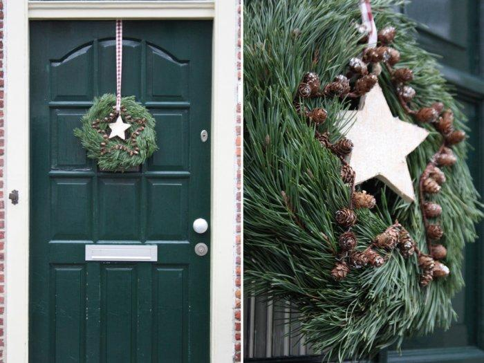 Beautiful front door wreath with pinecones and Christmas star - Simple and Elegant Budget Christmas Decorating Ideas