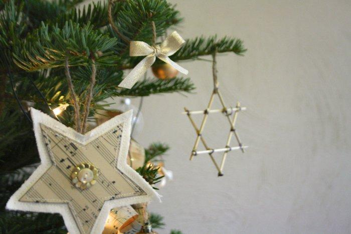 Beautiful holiday decorations hanging on a tree - Lovely Hand-crafted Christmas items