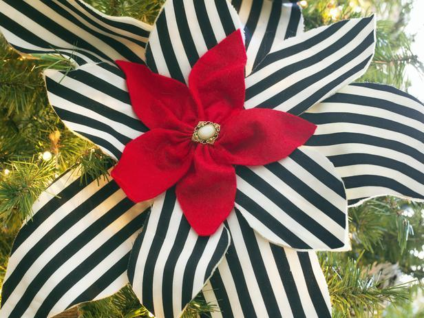 Black and white striped Poinsettias - Stylish Home Decoration Ideas in opposite colors