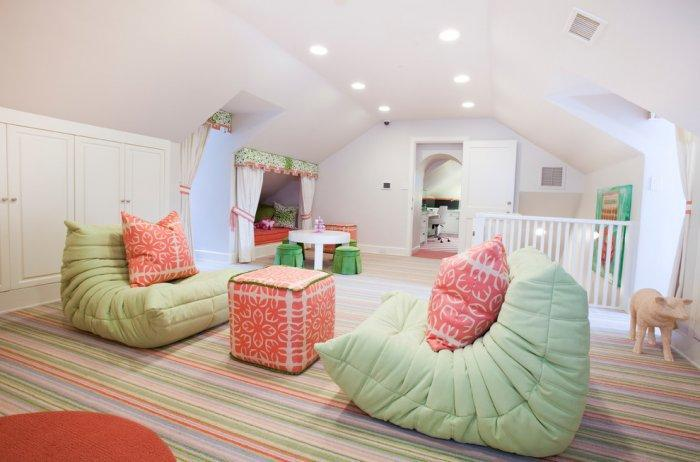 Cheerful playroom in bright vibrant colors - Refined Mansion with Elegant Touch in Houston