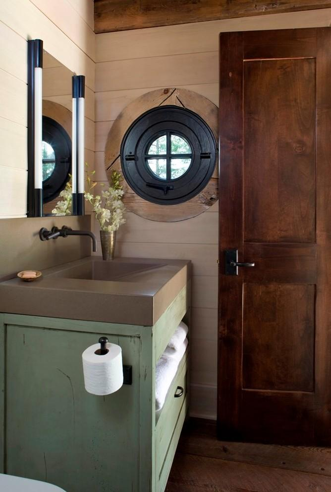 Custom concrete sink with pale green rustic vanity - Small Art Cottage near Rocky Mountains, Colorado
