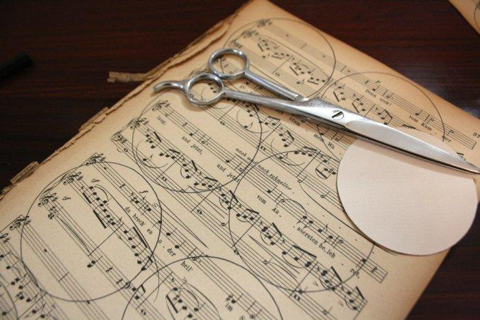 Cut a circle out of music paper - Lovely Hand-crafted Christmas Decorations