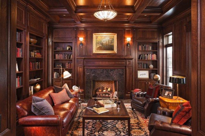 Dark walnut library in a luxury mansion - Splendid High-End Mansion in Minnesota, USA