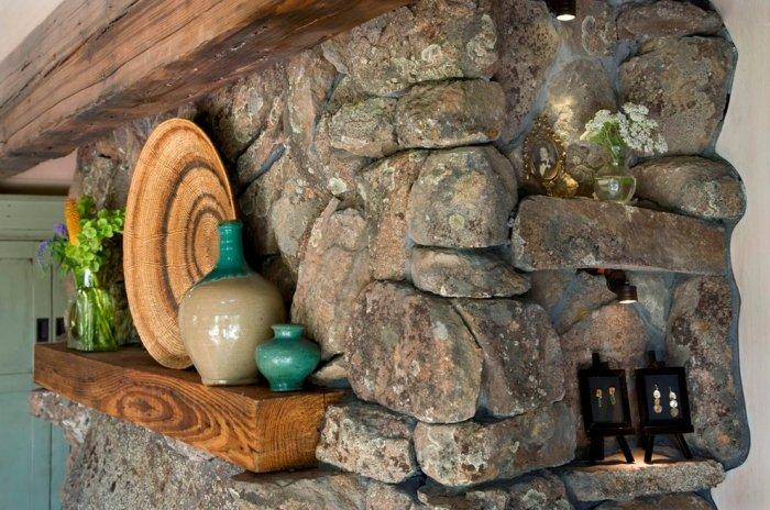 Decorative rustic niches with hand-made items - Small Art Cottage near Rocky Mountains, Colorado