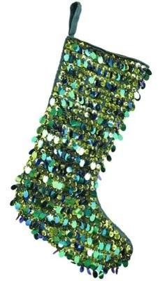 Emerald Sequin Stocking-20 Christmas Stockings Ideas that Cheer Up the Interior