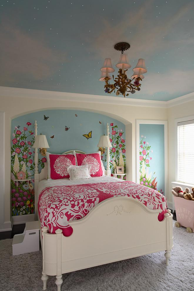 Fairy tale girlish bedroom interior design in vibrant colors - Stunning Family Mansion in Minnesota