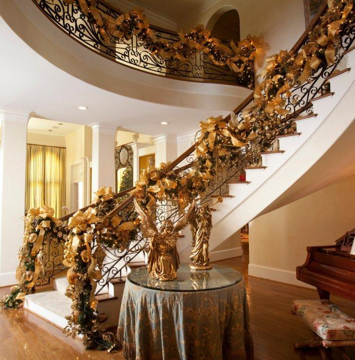 Fascinating classic staircase in gold Christmas decorations - 15 Great Colorful Ideas for Home