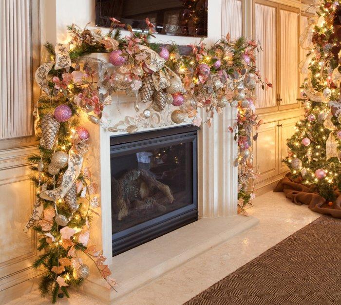 Feminine Christmas decorations around the fireplace - 15 Great Colorful Ideas for Home Decorations