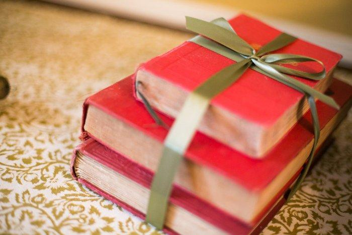 Hardback books wrapped in beautiful Christmas ribbon - Simple and Elegant Budget Decorating Ideas