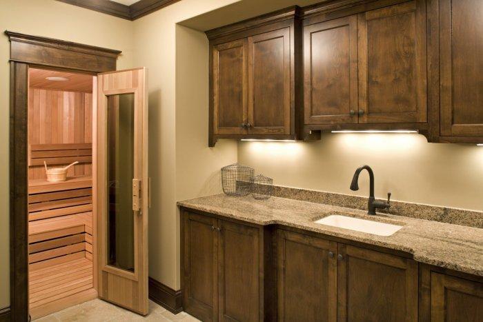Home sauna in simple and elegant design - Splendid High-End Mansion in Minnesota, USA