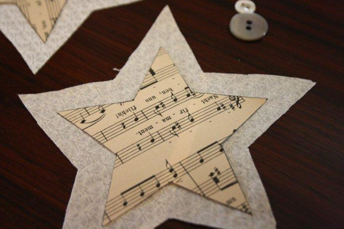 Lay each paper star upon a fabric one - Lovely Hand-crafted Christmas Decorations