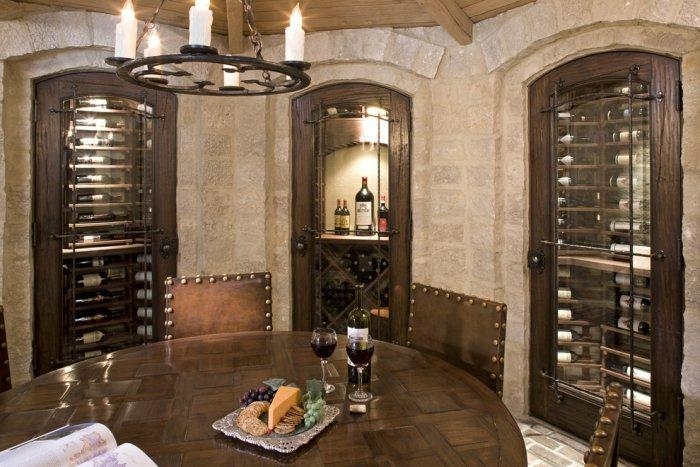 Luxurious wine cellar with extensive wine collection behind locked doors - Splendid High-End Mansion in Minnesota, USA