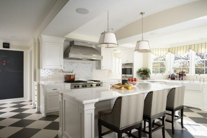 Luxury classic open plan kitchen in white - Stunning Family Mansion in Minnesota