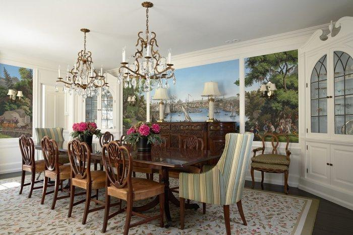 Luxury dining room with Vues d'Amérque du Nord mural - Stunning Family Mansion in Minnesota