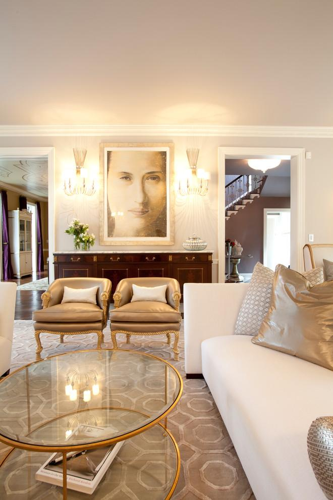 Luxury living room in warm tones - Refined Mansion with Elegant Touch in Houston
