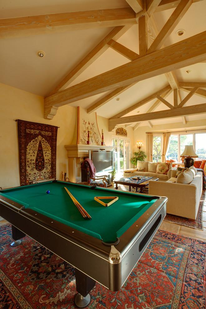 Luxury living room with a pool table inside - Mansion in California in Italian Style