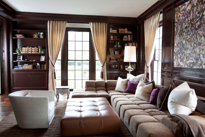 Luxury relaxation room in dark brown colors - Refined Mansion with Elegant Touch in Houston