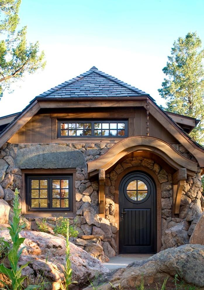 Main entry door of a Small Art Cottage near Rocky Mountains, Colorado